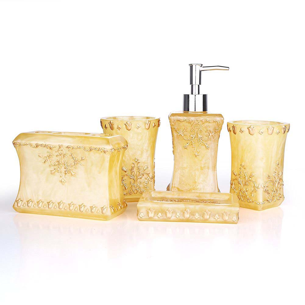 Beautiful Pearl Floral 5x Resin Bathroom Accessories Set