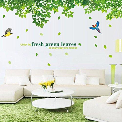 10 gruene blaetter asuka wand aufkleber fuer wohnzimmer schlafzimmer so x8s7 ebay. Black Bedroom Furniture Sets. Home Design Ideas