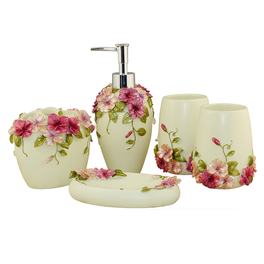 Country style resin 5pcs bathroom accessories set soap for Fashion bathroom set