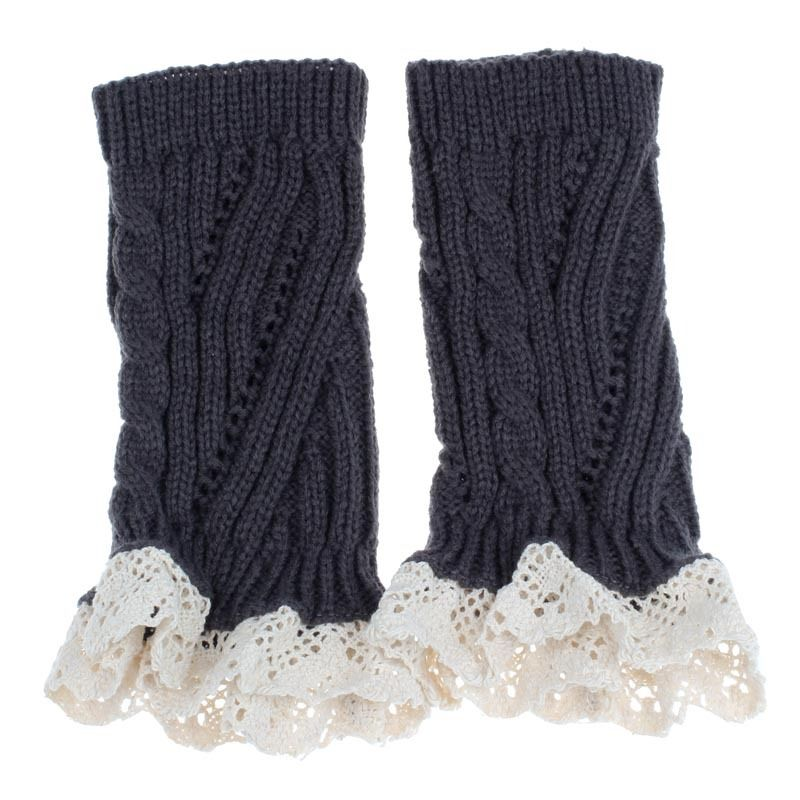 Grey-Women-Crochet-Knitted-Lace-Trim-Boot-Cuffs-Toppers-Warmer-Leg-Socks-T7D1