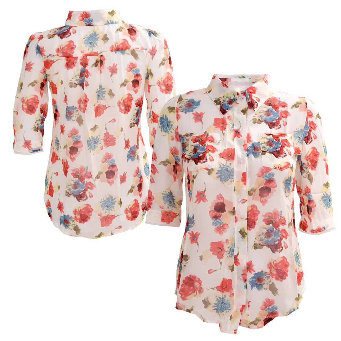Women-Elegant-Loose-Printed-Chiffon-Casual-Tops-Blouses-S-H7J1