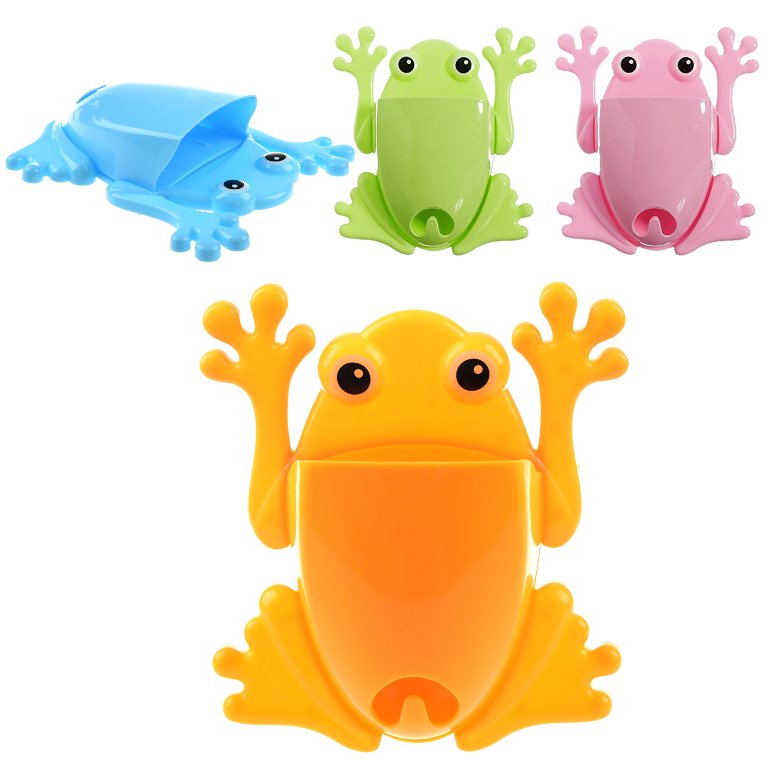 5X-SR-Lovely-Cute-Frog-Toothbrush-Makeup-Tools-Wall-Sticker-Green