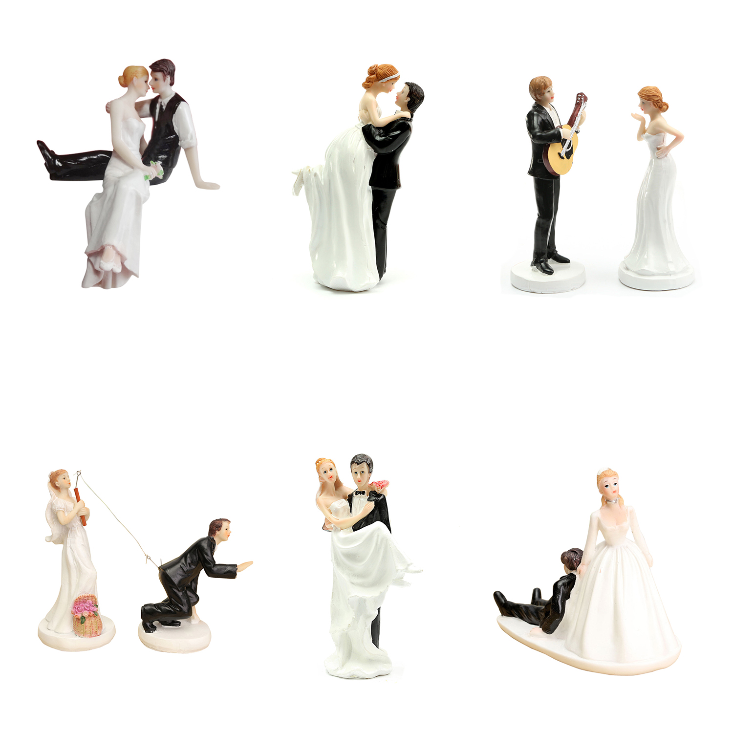 SA FUNNY ROMANTIC WEDDING CAKE TOPPER FIGURE BRIDE GROOM