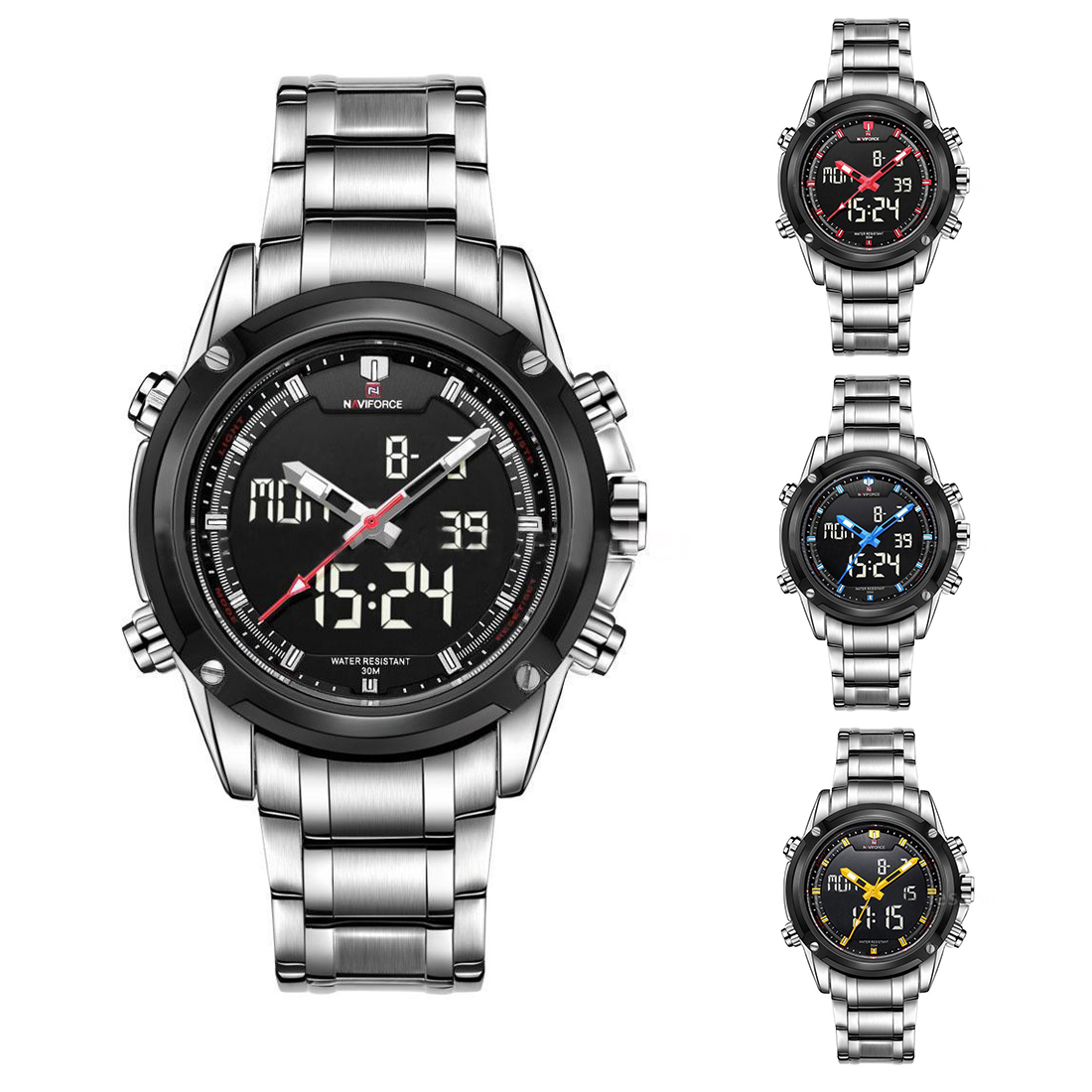 Naviforce-Men-Digital-Analog-Stainless-Steel-Band-Wrist-Watch-3ATM-Colour-S-L6L4