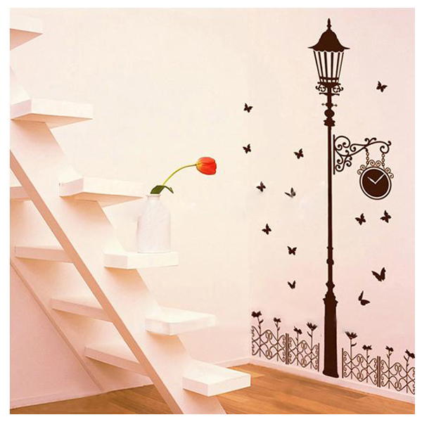 Lampadaires garde corps vinyle autocollant mural decoratif fleur decorationo9y6 ebay for Autocollant decoratif mural