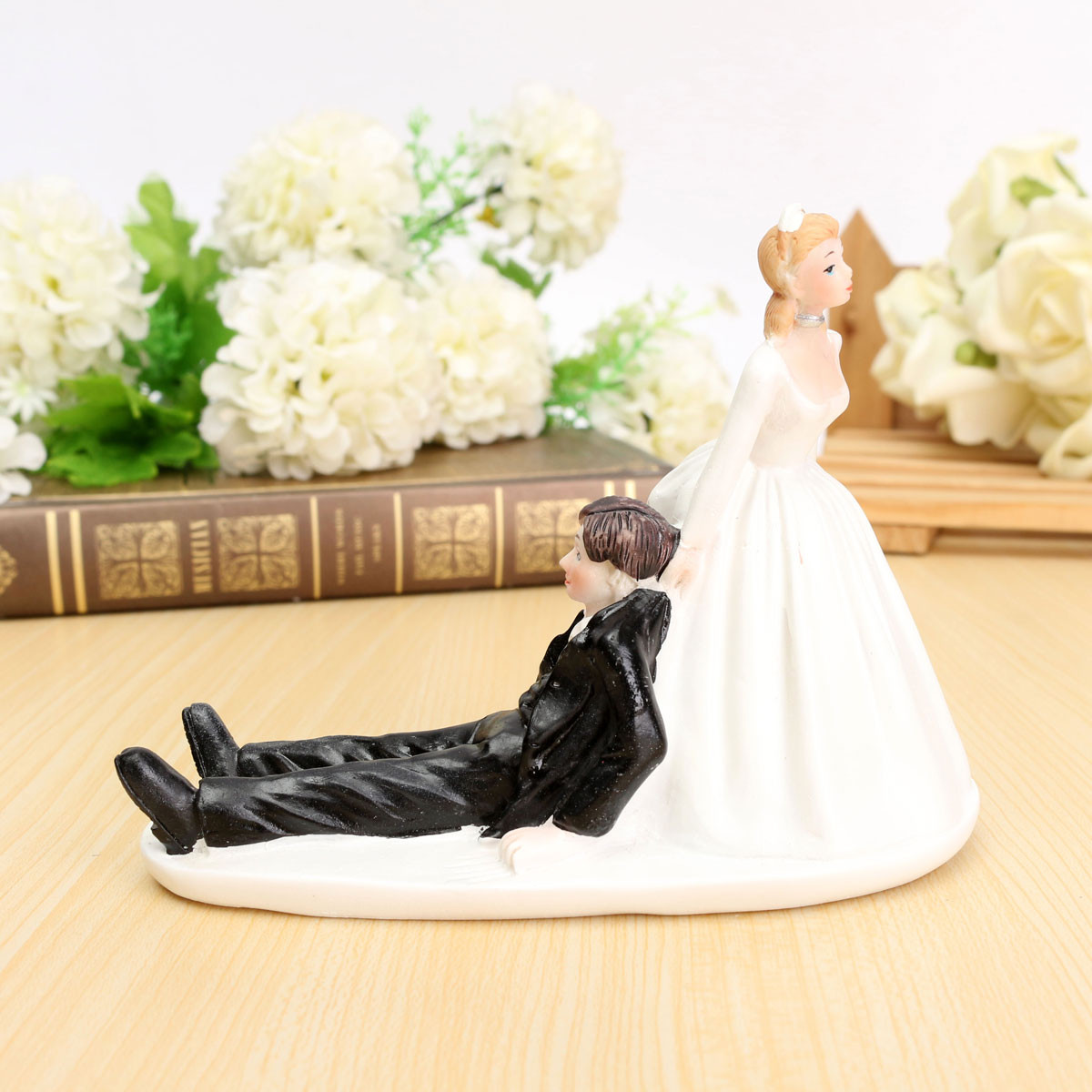 FUNNY ROMANTIC WEDDING CAKE TOPPER FIGURE BRIDE GROOM