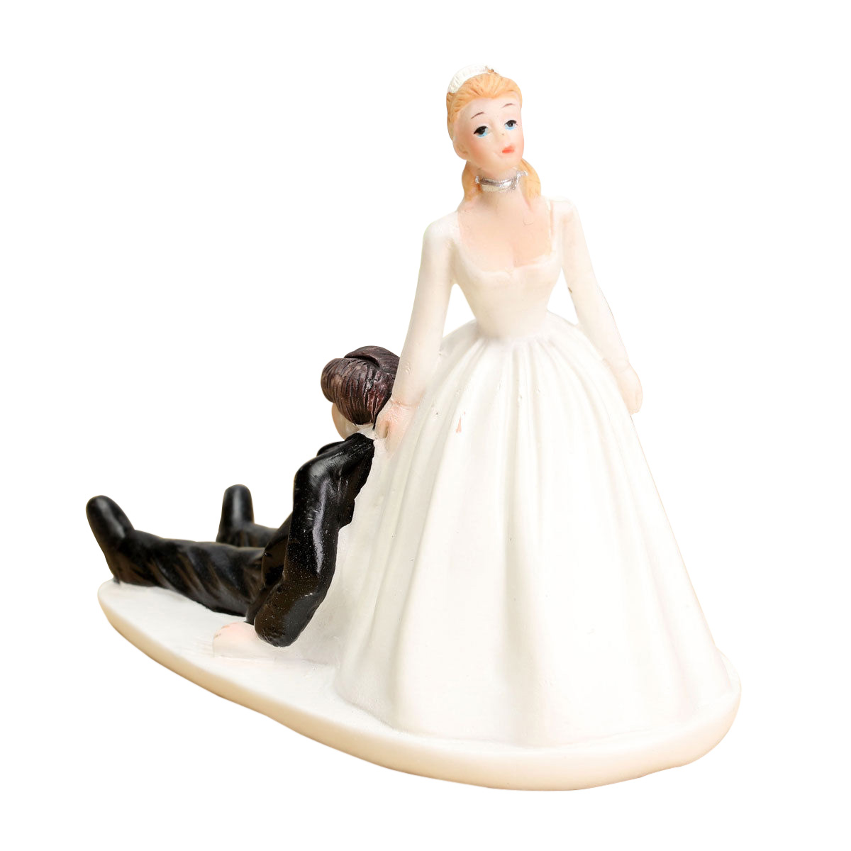 wedding cake topper figure bride groom couple side sitting embracing