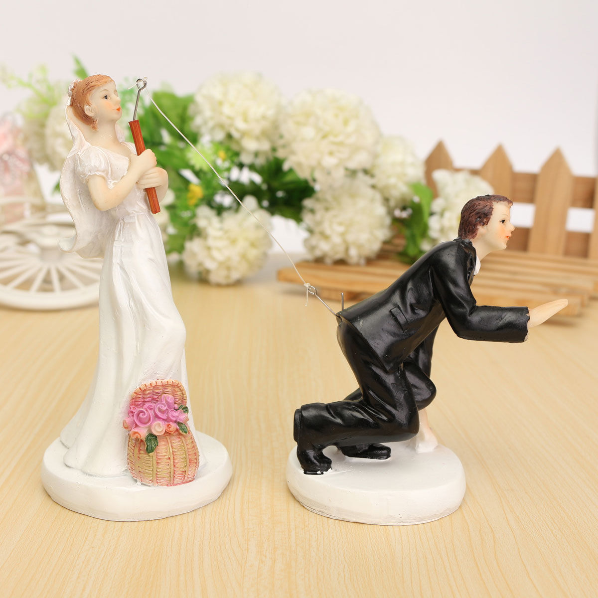 FUNNY ROMANTIC WEDDING CAKE TOPPER FIGURE BRIDE GROOM
