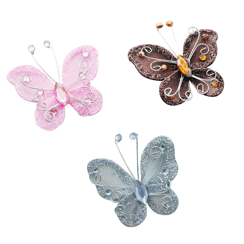 10pcs mixed organza wire rhinestone butterfly wedding for Butterfly decorations for home