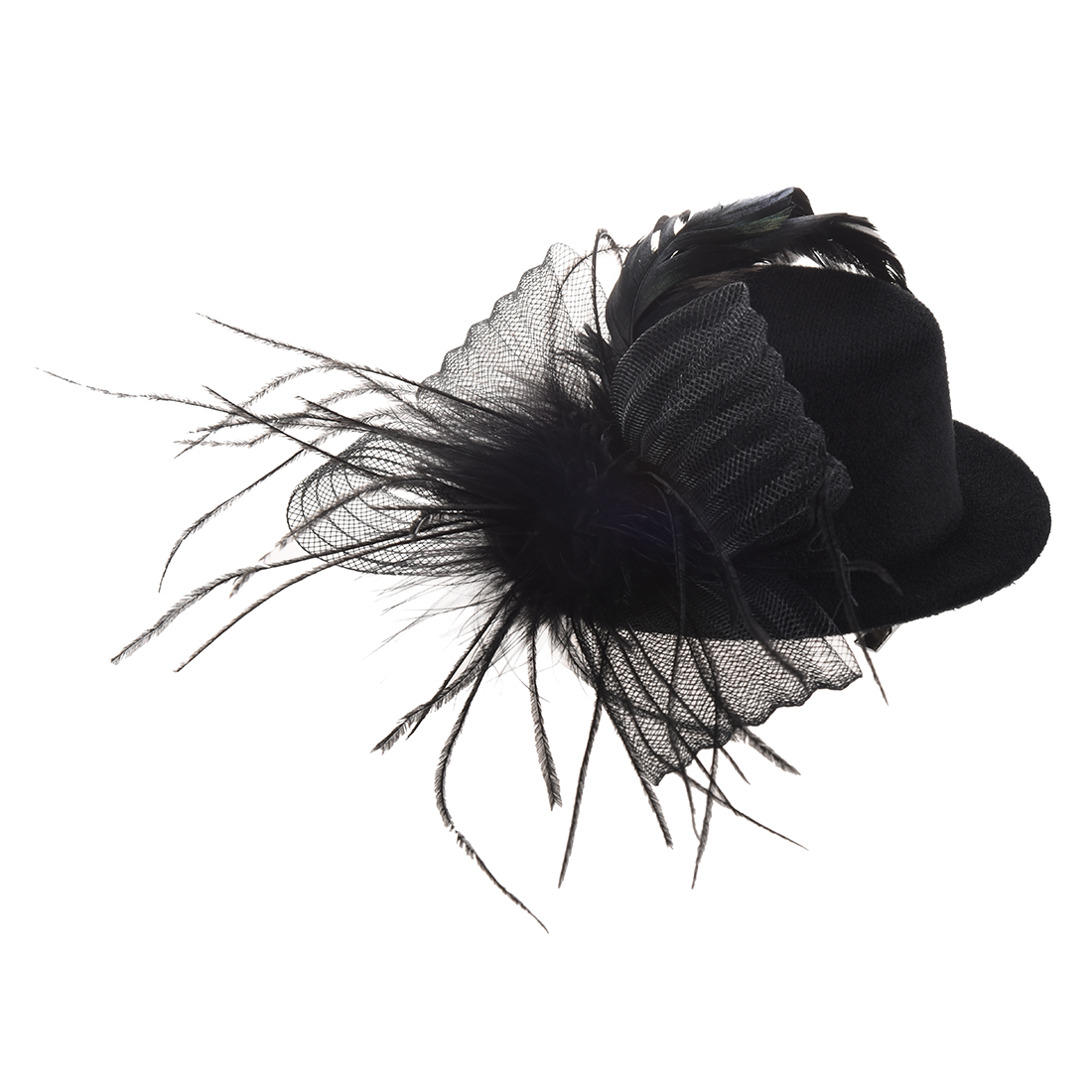 10X-Feder-Organza-Folie-Schleier-Hut-Minihut-Haarcs-Haarklammer-Haarklemmen-H7N2
