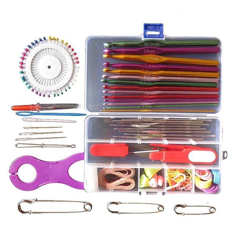 Multicolor metal aguja de gancho aguja de tejer Set Set completo Set de aguja Z9