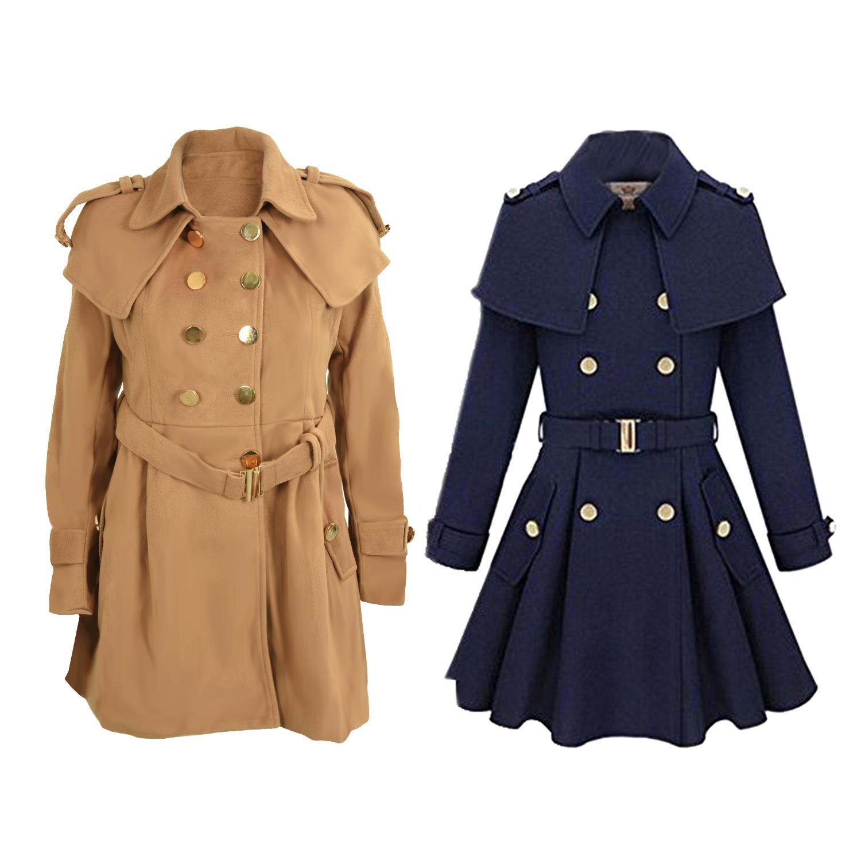 womens fit trench coat wool blend jacket parka outwear. Black Bedroom Furniture Sets. Home Design Ideas