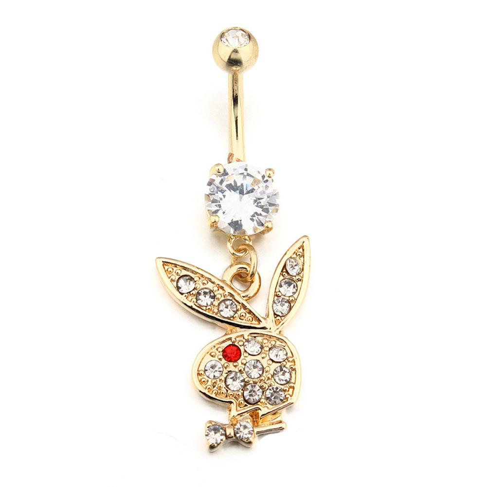 Bunny gold plated dangle belly button navel rings body for Belly button navel jewelry