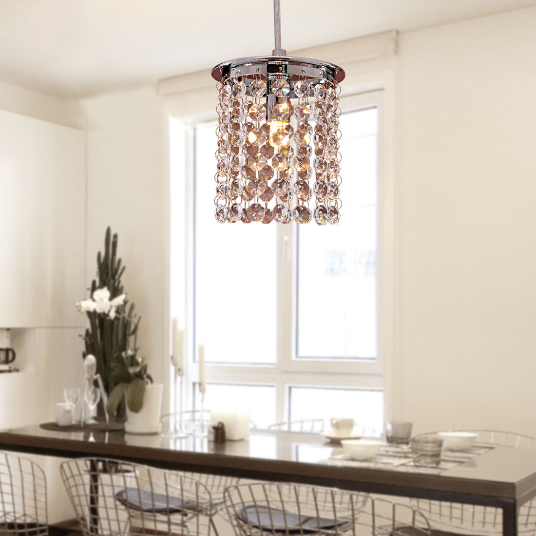 Crystal ceiling light modern chandelier pendant kitchen for Dining room chandeliers modern
