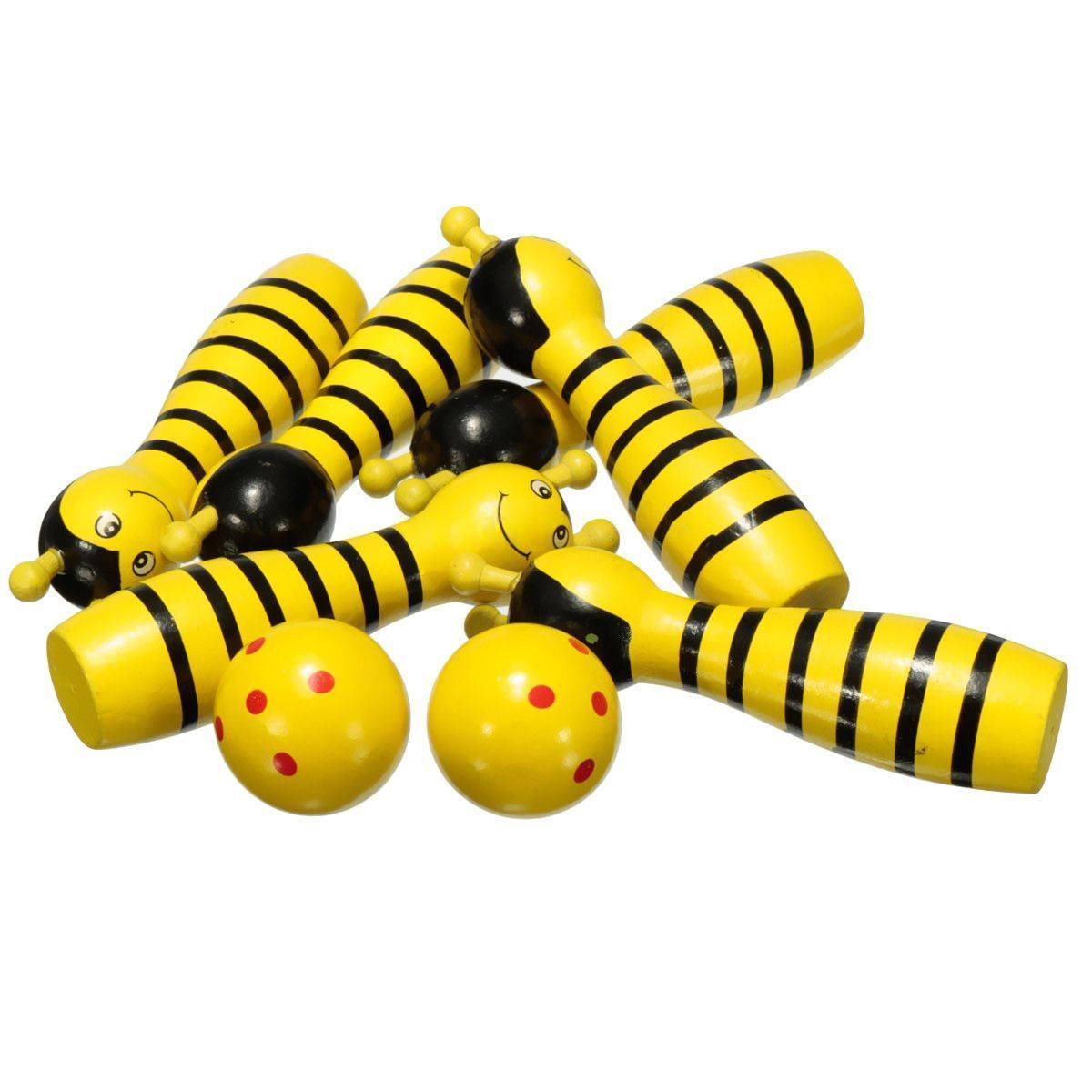 Ball Game Toy : Wooden bowling ball skittle animal shape game for kids