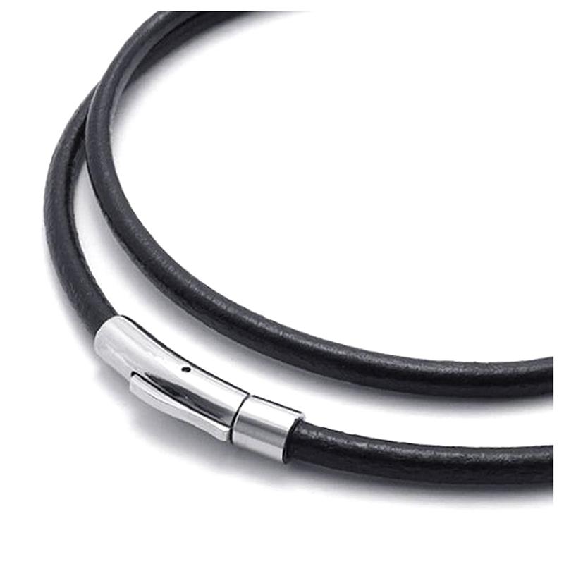 Bijoux Collier Homme Cuir Acier Inoxydable 3mm Cordon Chaine pour Q3J9