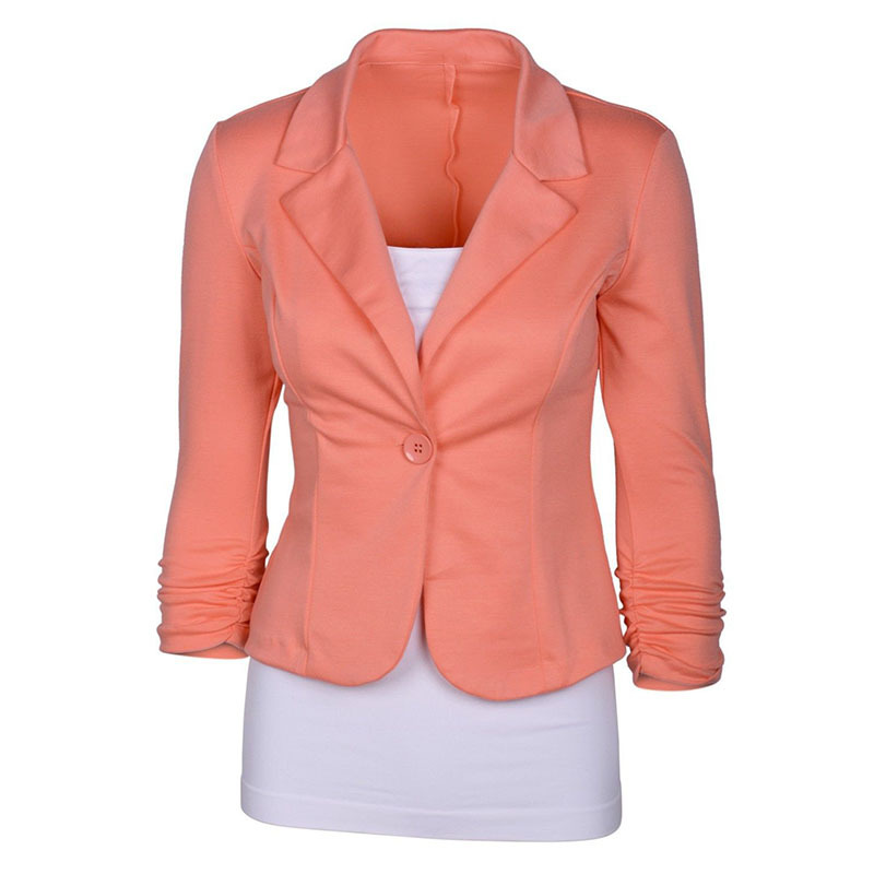Women's Casual Work Solid Color Knit Blazer Plus Size One