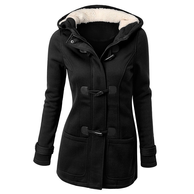 Women-039-s-Trench-Coat-Long-Overcoat-Hooded-Coat-Zipper-Horn-Button-Outwear-BG