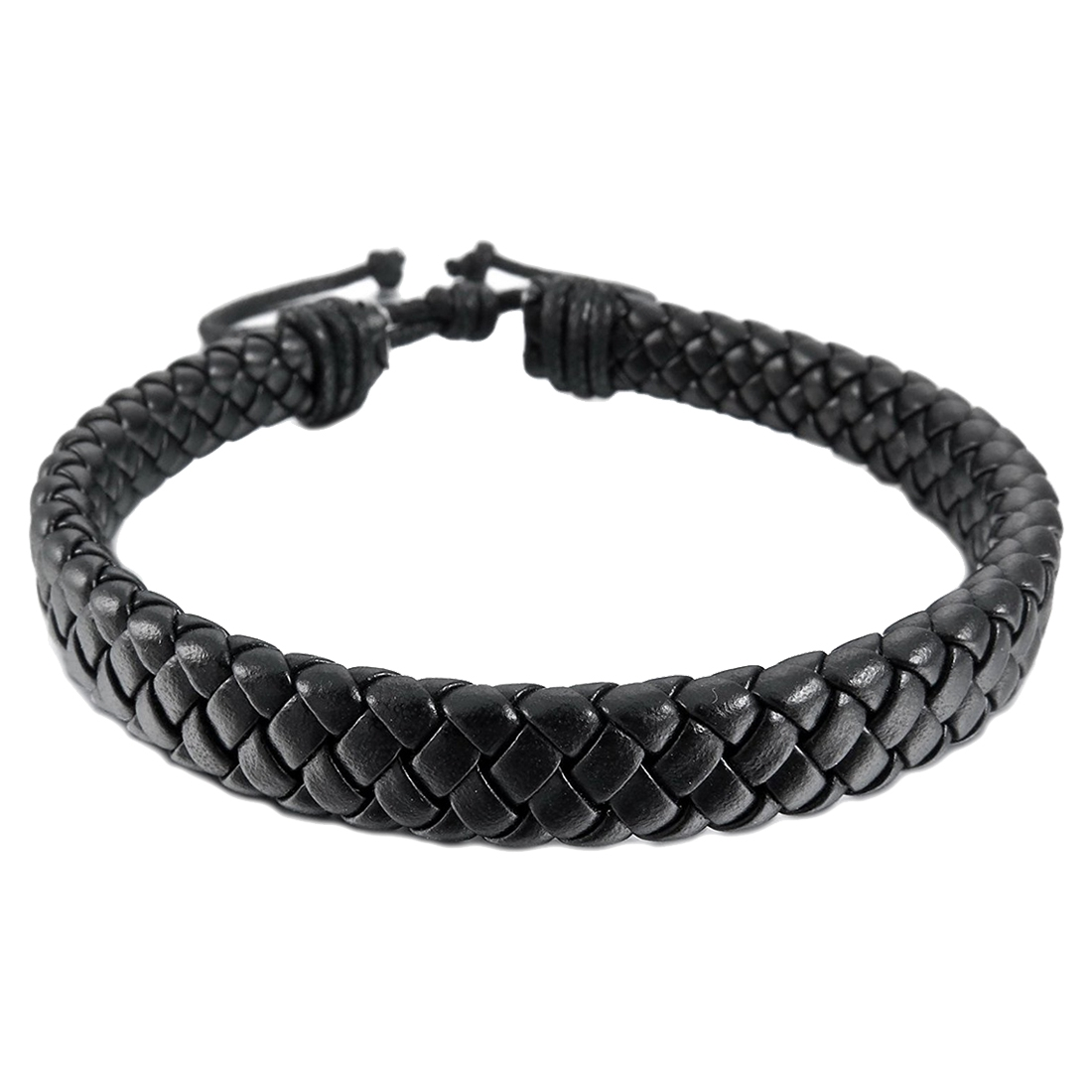 Leather Bracelet Bangle Cuff Rope Black Surfer Wrap