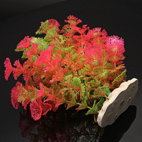 Pink Green Artificial Plastic Water Plants For Fish Tank