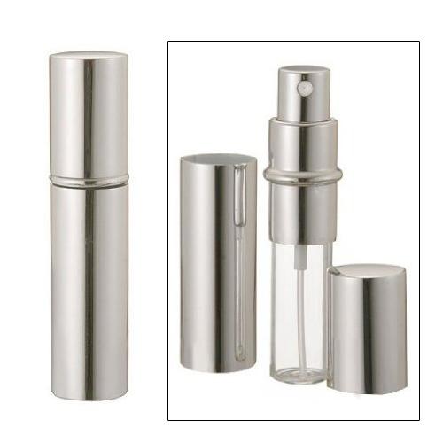 Travalo Refillable Travel Perfume Spray Bottle: Silver Refillable Travel Size Perfume Bottle Spray, 12ml .41oz L6