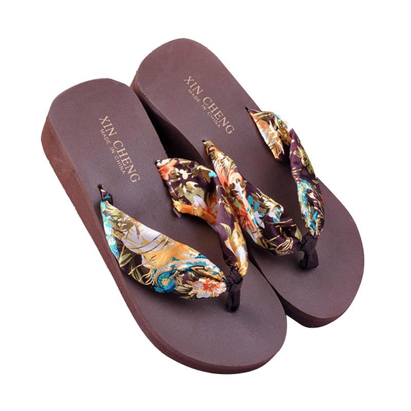 Sandalia-De-Playa-Floral-Bohemio-De-Mujer-Zapatillas-Pantuflas-De-Plataform-N7A2 miniatura 8