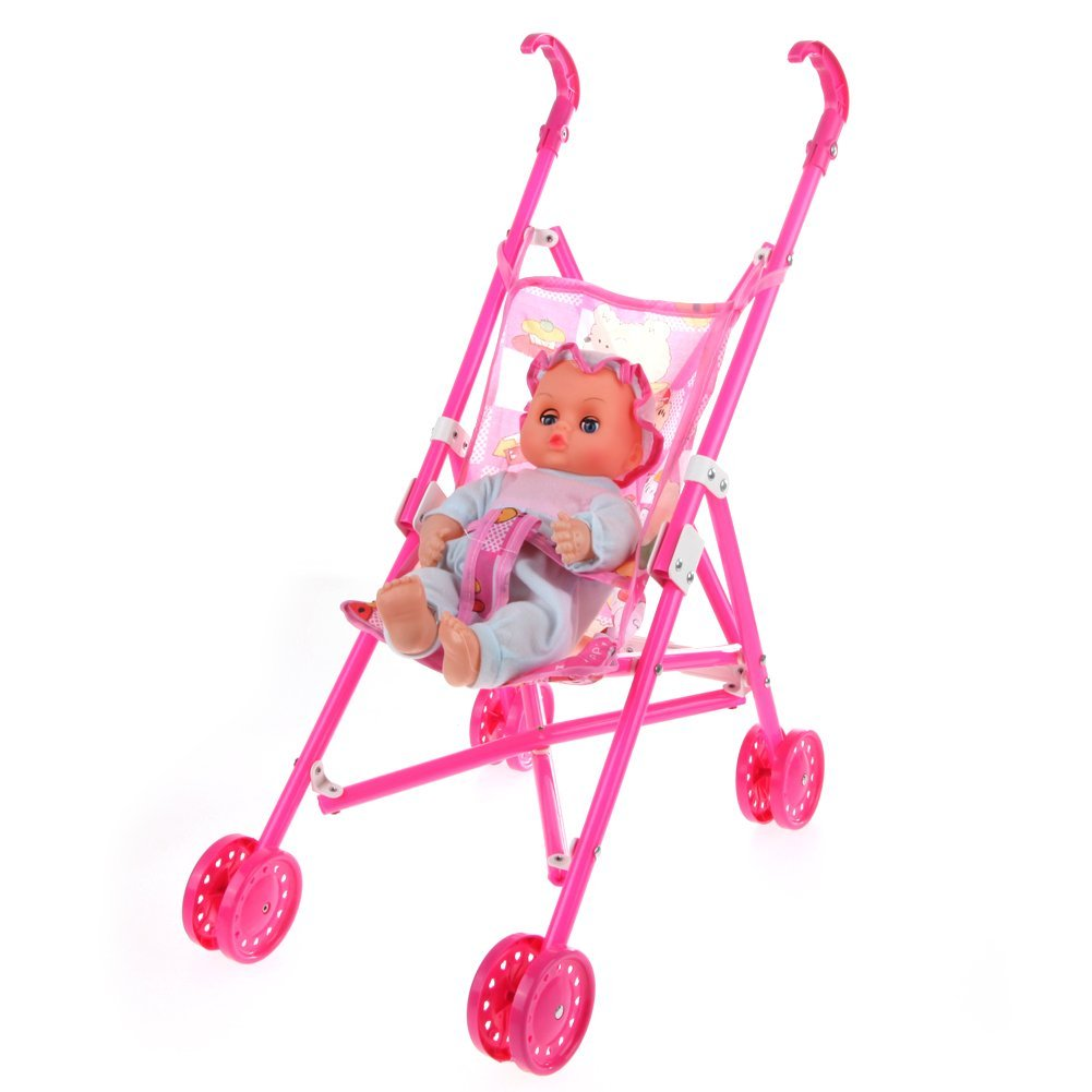 Dolls Buggy Stroller Pushchair Pram Foldable Toy Doll Pram