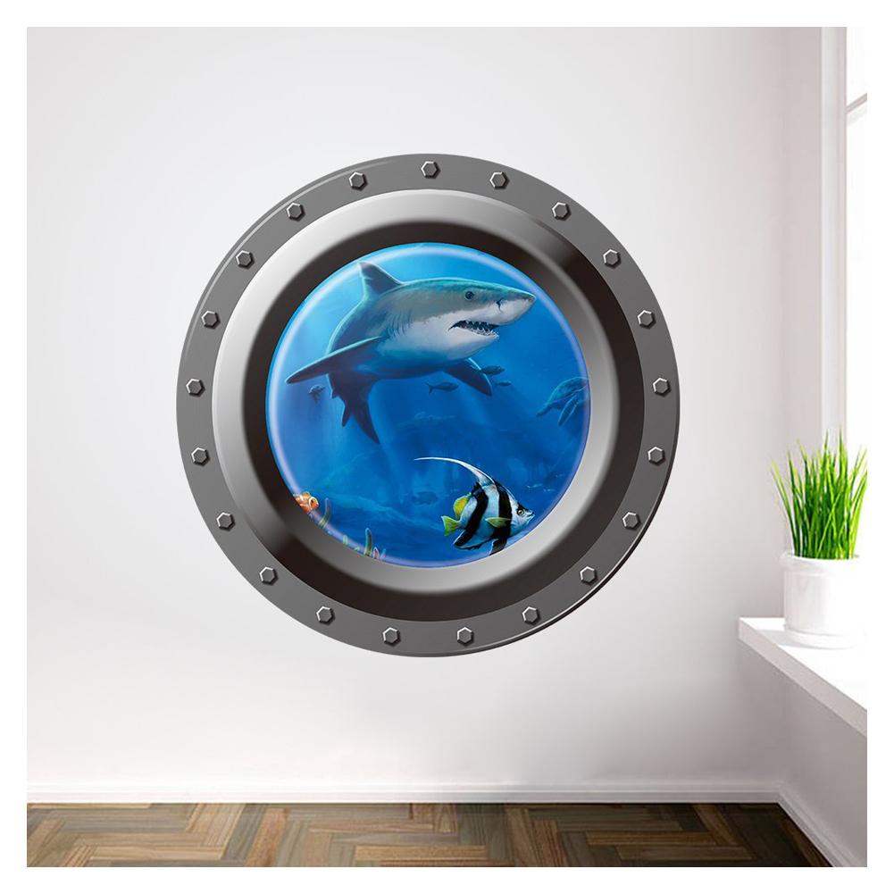 Shark Ocean View Wall Sticker 3d Porthole Window Kids Room