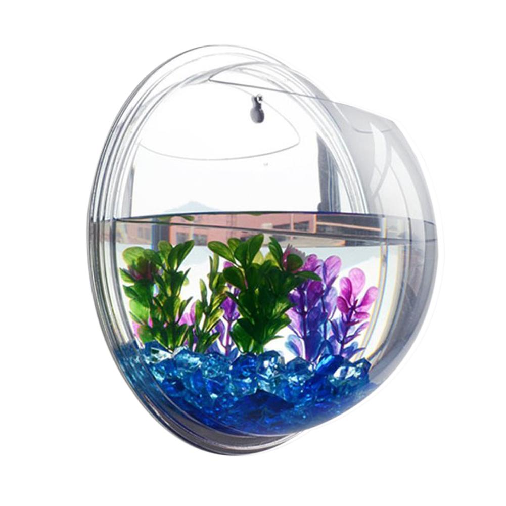 Plant wall hanging mount bubble aquarium bowl fish tank for Fish bowl pictures