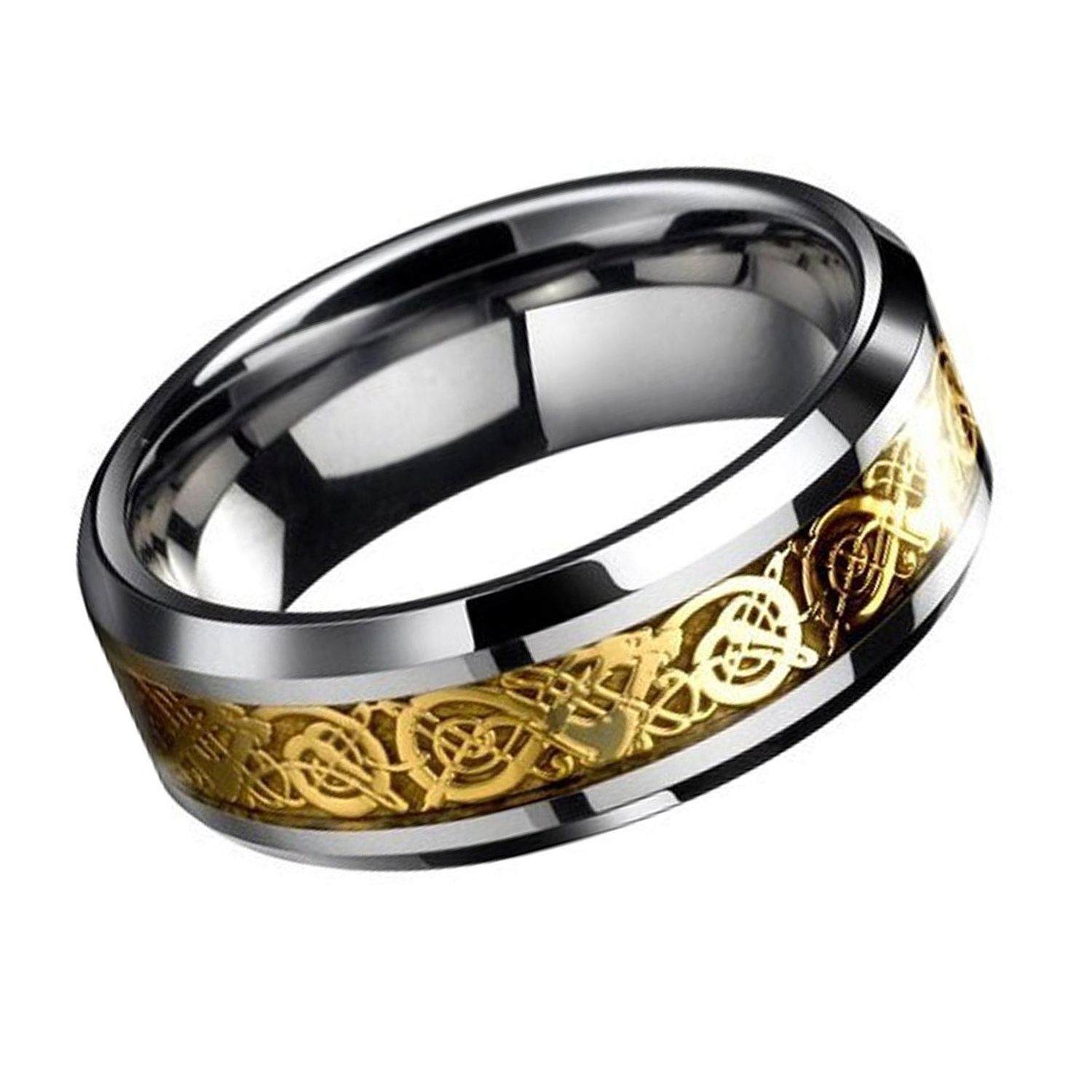 Dragon Scale Beveled Edges Celtic Rings Jewelry Wedding Band For