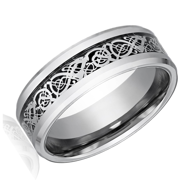 Dragon Pattern Beveled Edges Celtic Rings Wedding Band for Men