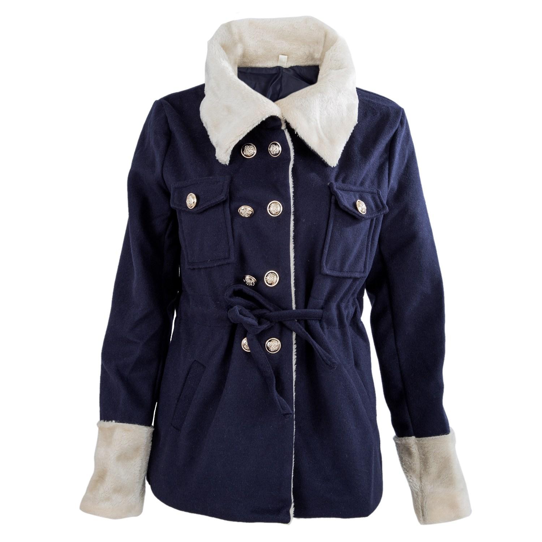 automne filles et femmes col de fourrure veste de laine mince manteau chaud d1q2 ebay. Black Bedroom Furniture Sets. Home Design Ideas