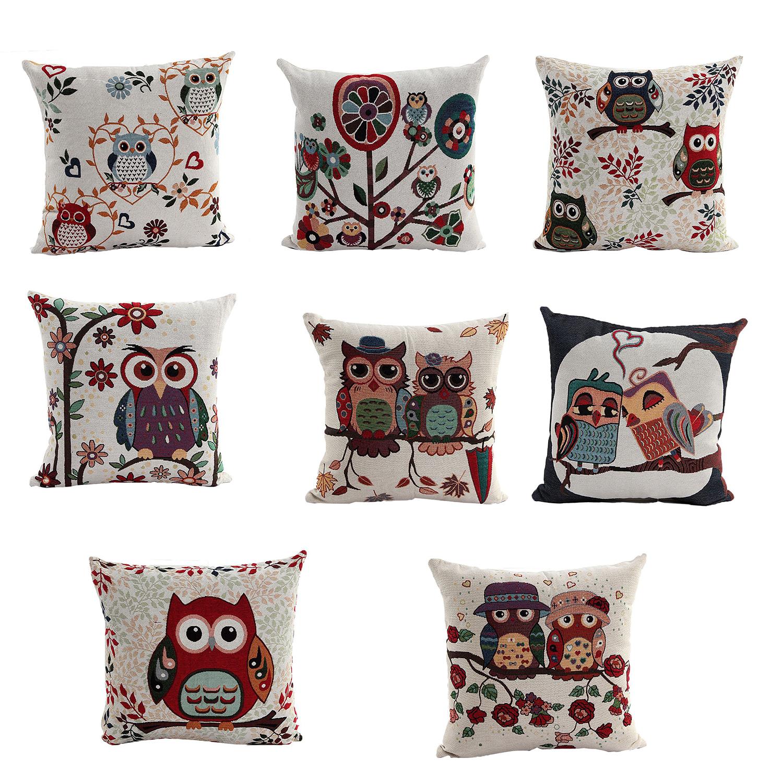 Decorative Pillow Cover Patterns : Cute Owl Pattern Linen Decorative Head Pillow Cover Home Cushion Cover E5Z1 eBay