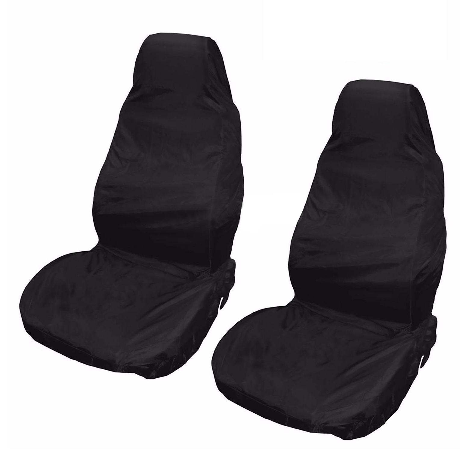 2x universal waterproof nylon front car van seat covers protectors black t2s6 ebay. Black Bedroom Furniture Sets. Home Design Ideas