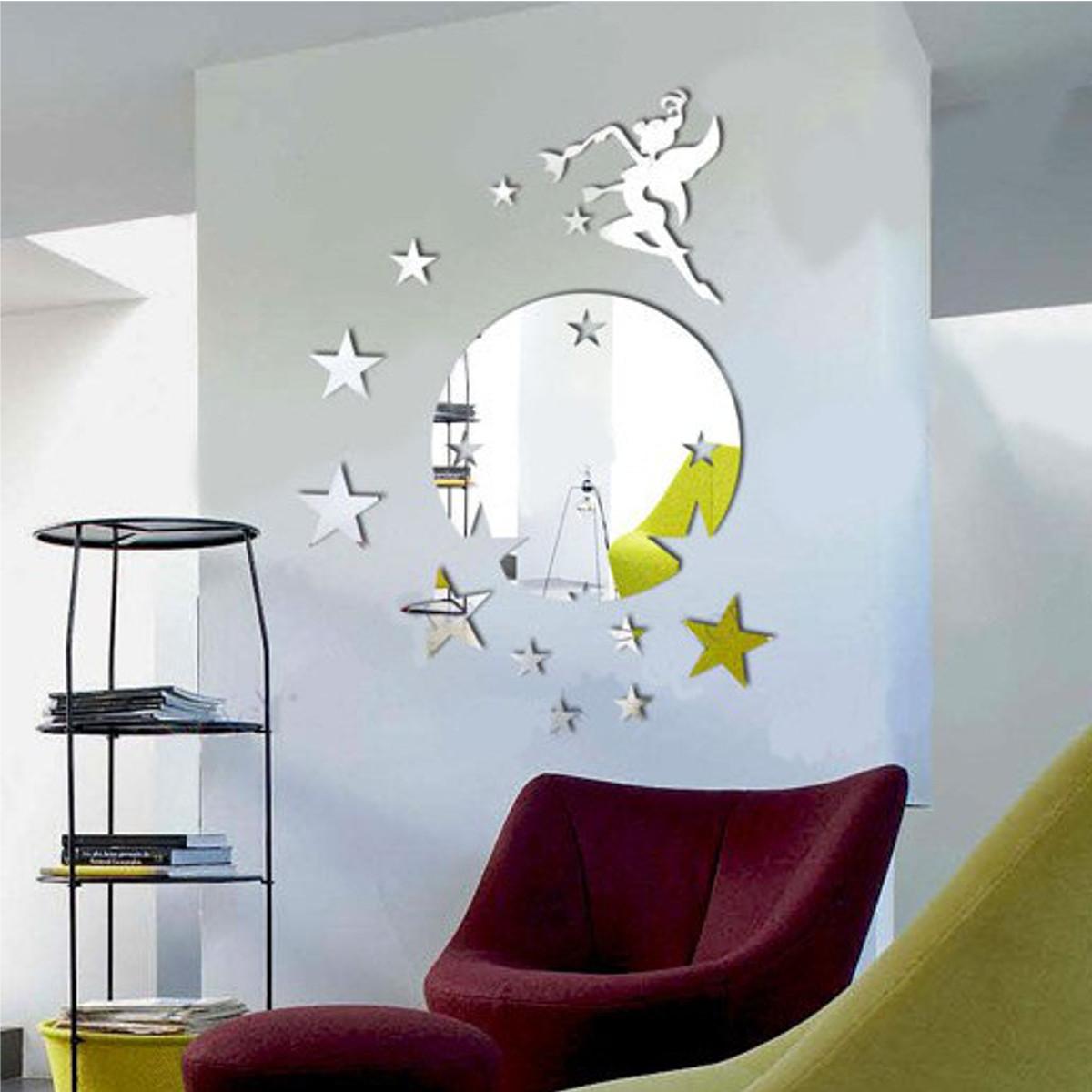 6x herausnehmbar feenhafte stern spiegel dekor kunst wand for Stern oder spiegel