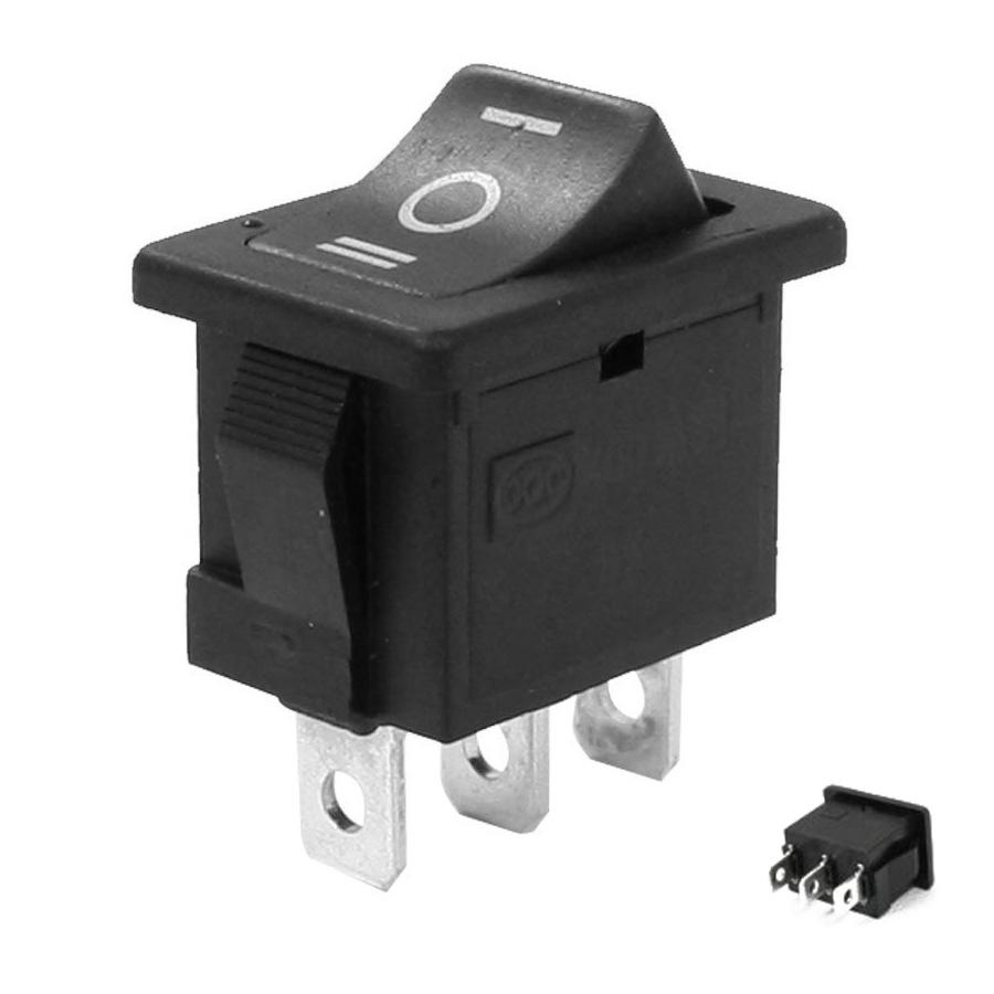 1 X New Rocker Switch 3-Pin 250V6A 125V10A Black Plastic 3-Way I-0-II, SPDT, 3P