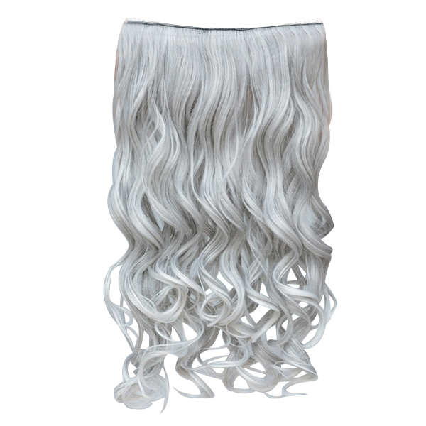 Silver Gray Curly Clip In Hair Extensions Grandma Hair Hairpieces Bf