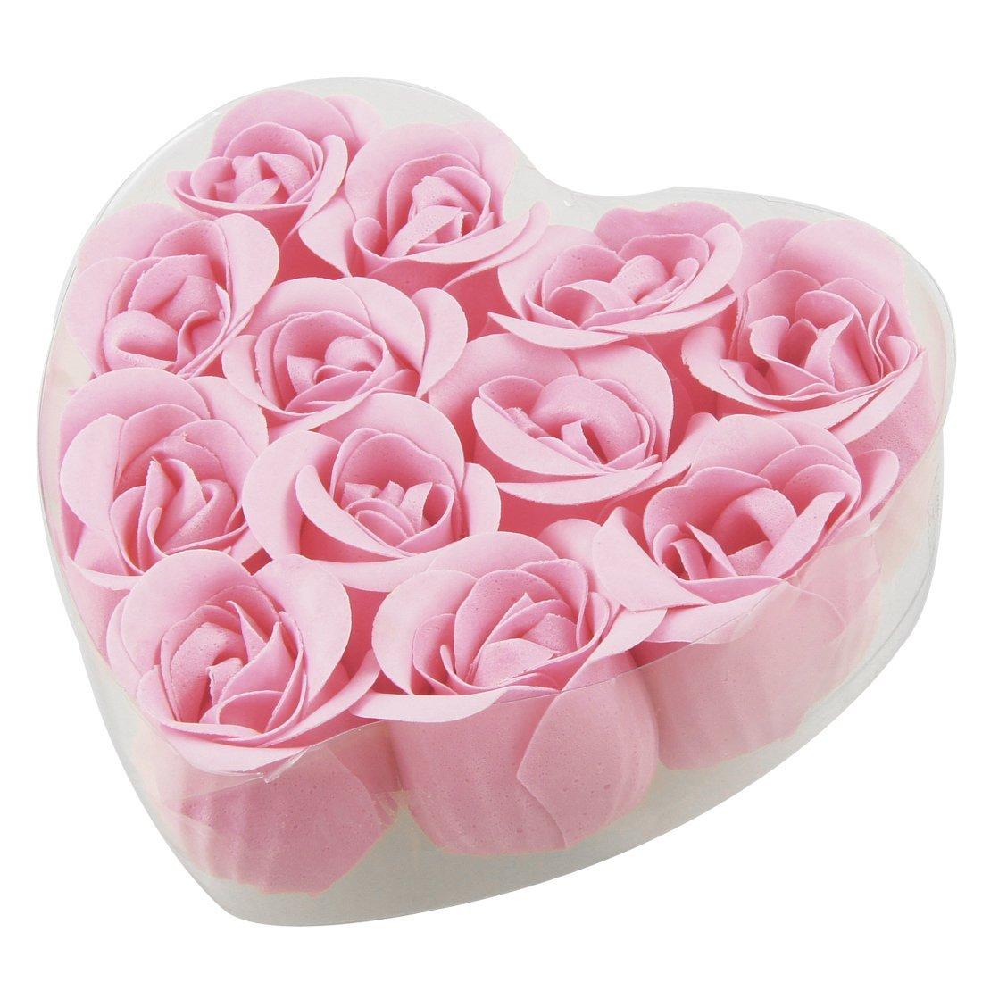 12 Pcs Bathing Pink Rose Bud Flower Petal Soap Heart Shape Box N3