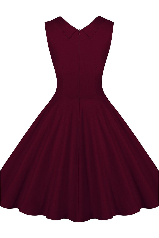 Zuschneiden V-Ausschnitt Vintage 1950 Retro Party Kleid Dunkelrot ...