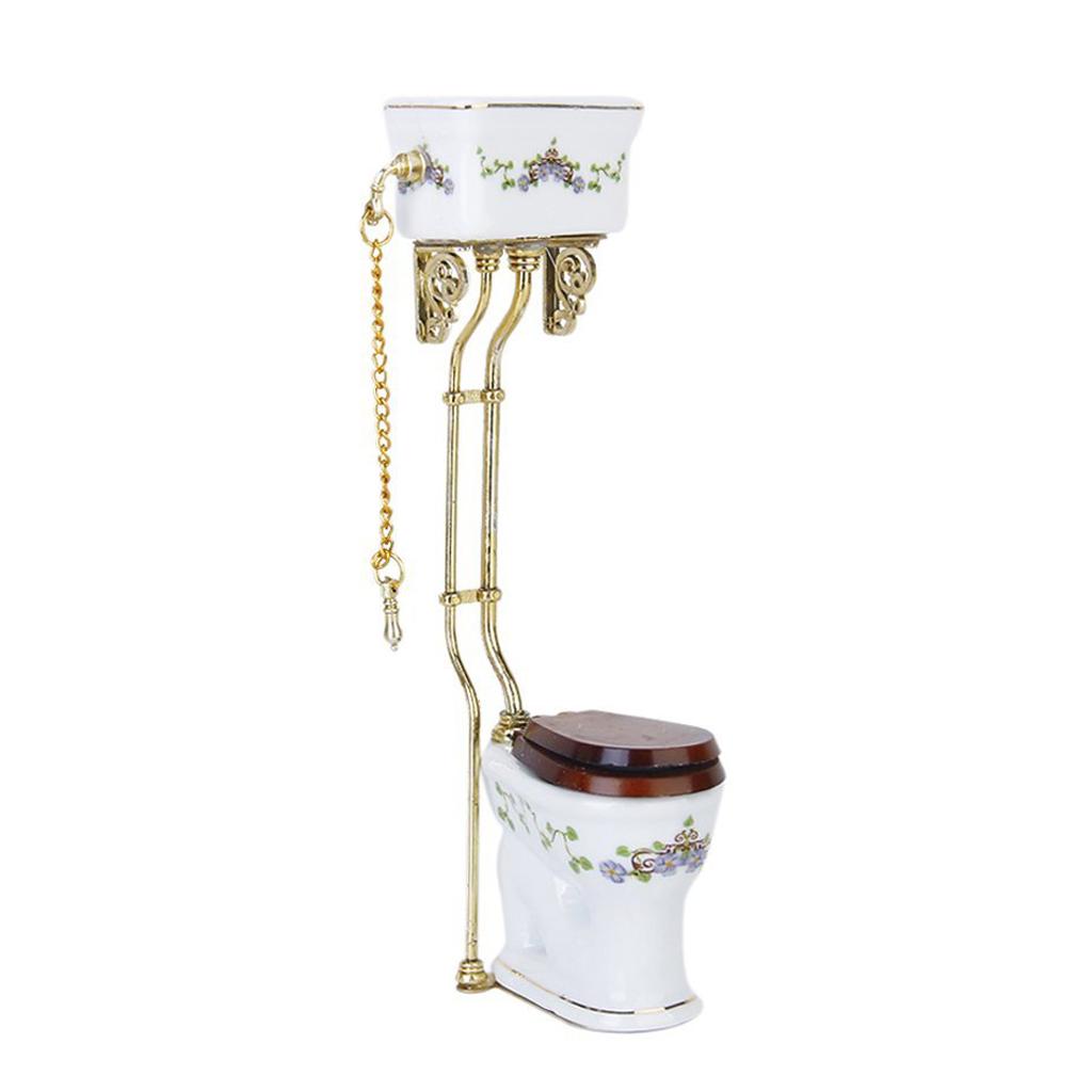 vintage victorian style bathroom porcelain toilet doll house miniature b7h2 ebay. Black Bedroom Furniture Sets. Home Design Ideas