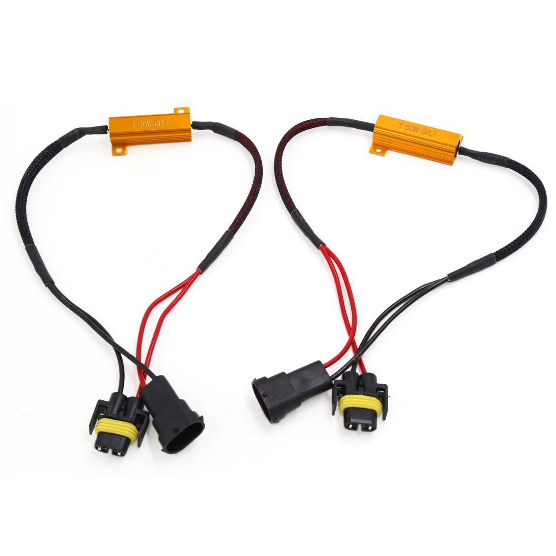 065615 2 pcs h11 error free load resistor bypass wiring harness 50w 6ohm Wiring Harness Diagram at virtualis.co