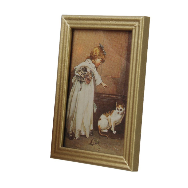 1:12 Resin Frame Lady Mural Wall Painting Dollhouse Miniature Furniture decor HK