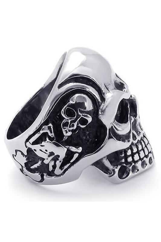 Jewelry-biker-men-039-s-ring-stainless-steel-frown-face-Gothic-skull-black-F7Z2 thumbnail 4
