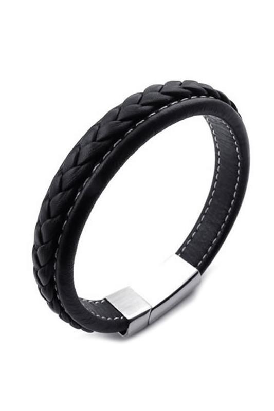 pulsera-de-joyeria-de-hombres-brazalete-de-acero-inoxidable-de-cuero-negro-ST