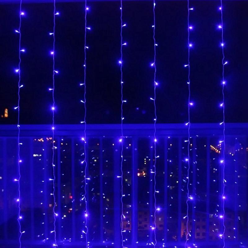 3m-x-3m-300-LED-de-cadena-ligera-cortina-de-secuencia-del-carambano-lluvia-h-2E9 miniatura 4