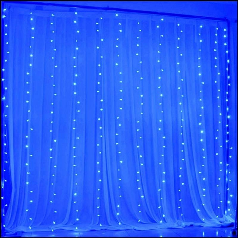 3m-x-3m-300-LED-de-cadena-ligera-cortina-de-secuencia-del-carambano-lluvia-h-2E9 miniatura 5