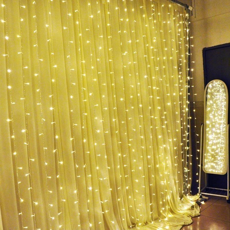 3m-x-3m-300-LED-de-cadena-ligera-cortina-de-secuencia-del-carambano-lluvia-h-2E9 miniatura 8