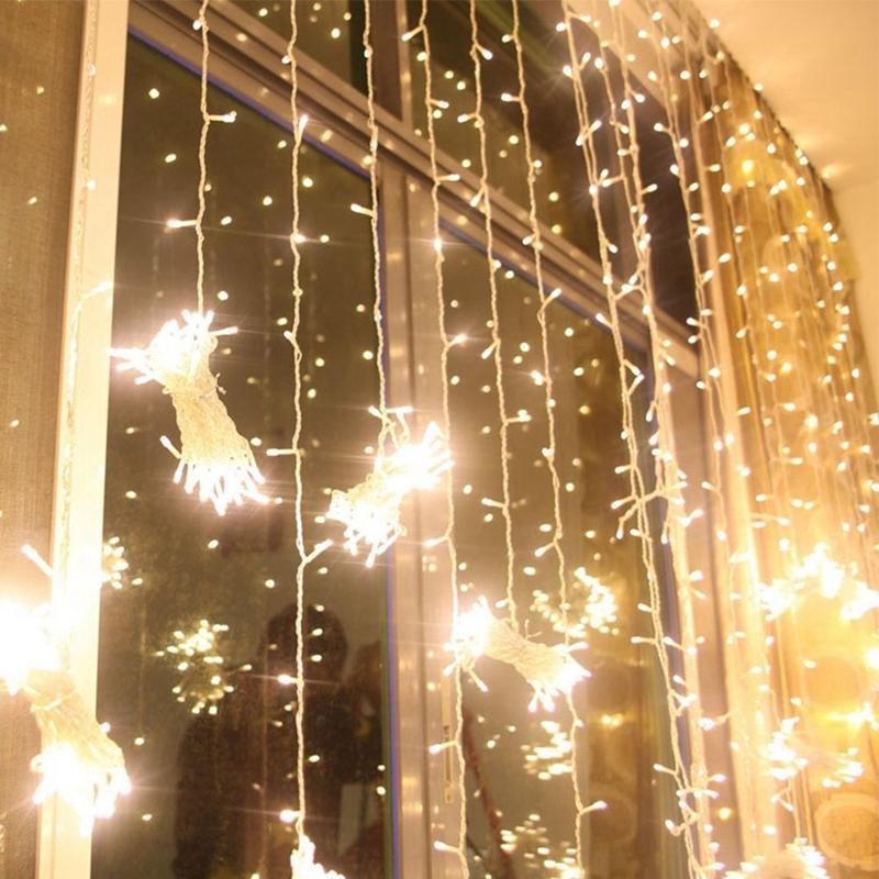 3m-x-3m-300-LED-de-cadena-ligera-cortina-de-secuencia-del-carambano-lluvia-h-2E9 miniatura 9