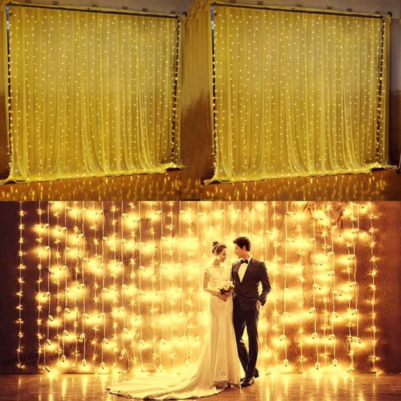 3m-x-3m-300-LED-de-cadena-ligera-cortina-de-secuencia-del-carambano-lluvia-h-2E9 miniatura 10