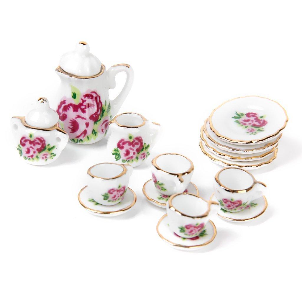 15X Porcelain Tea Set Dollhouse Miniature Foods Chinese